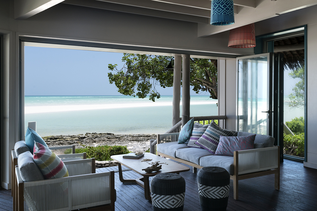Anantara Medjumbe Island - lounge with Indian Ocean view