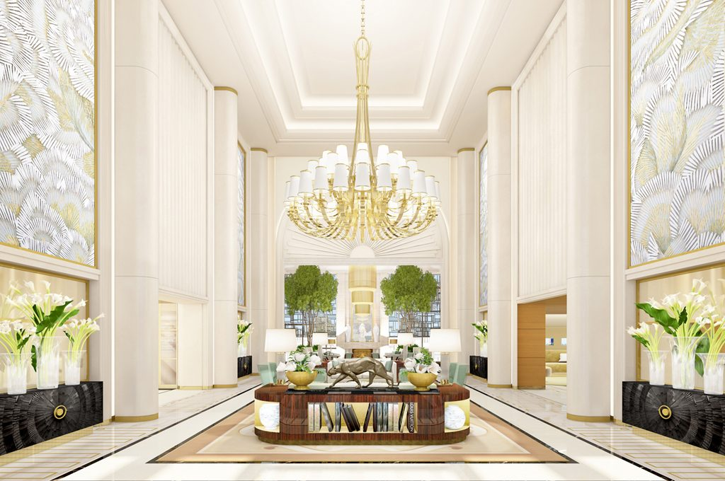 Hotel lobby with chandelier